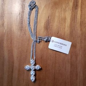 Sterling Silver/ CZ Cross pendant necklace F6